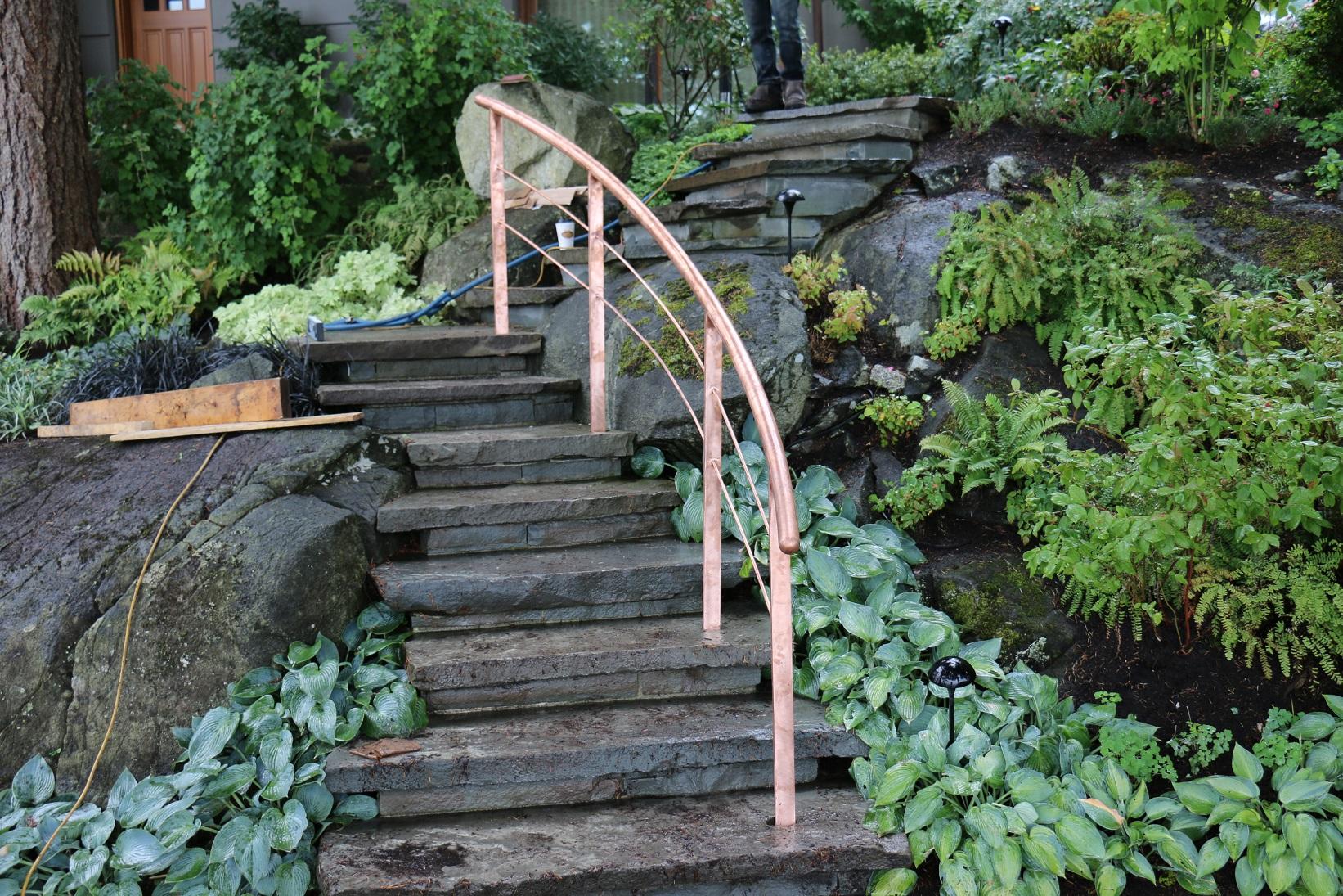 Pure Copper Curved Railing, West Vancouver, Portfolio #15 1